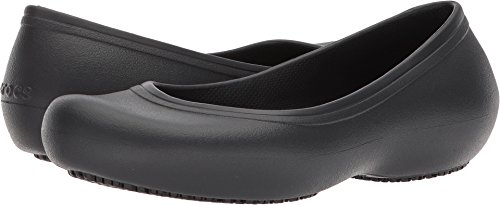 Crocs Women's Work Flat Food Service Shoe, Black, 9 M US by Crocs