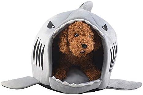 Comtervi Tiburón de diseños Caseta Perro Cama Cesta Perros y Gatos Cama con cojín Perro Mascota Saco de Dormir para Interior Lavable Casa Sofá 42 cm/50 cm