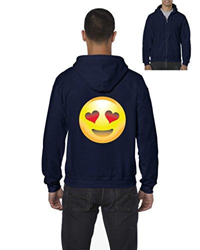 Emoji Hoodie Emoji Smiling Face w Heart-Shaped Eyes Cute Birthday Gift Mens Hoodies Zip Up - Heart Faces Men With Shaped