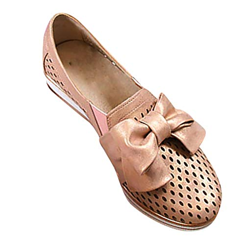 Haalife◕‿¿Women Slip on Loafers Casual Comfort Suede Shoes Round Toe Hollow Out Wedge Platform Sneakers Gold