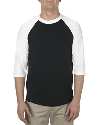 Alstyle Apparel AAA Unisex Classic Raglan 3/4 Sleeve Baseball T-Shirt, Black/White, Small (Print Screen Classic Jersey)