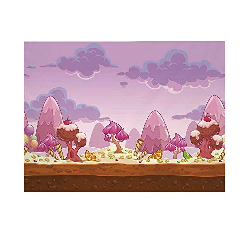 Girls Room Decor Photography Background,Cartoon Sweet Candy Land Cupcakes Ice Cream Chocolate Oranges Mountains Backdrop for Studio,20x10ft