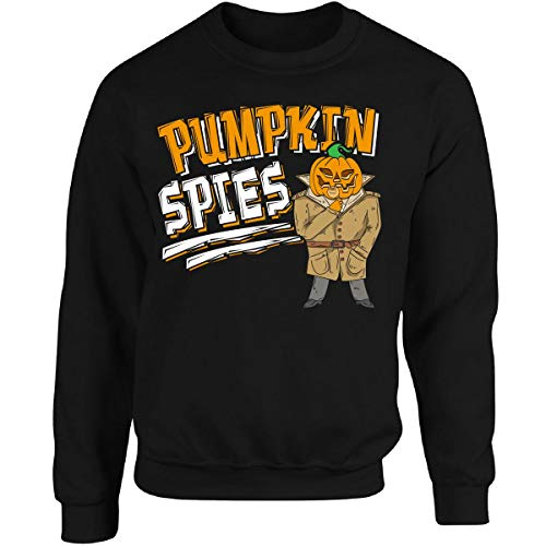 Pumpkin Spies Funny Halloween Pun Outfit - Adult Sweatshirt L Black]()