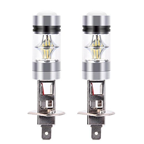 Catinbow LED Fog Light Bulbs H1 White 6000K High Power 100W Auto Fog Light Bulb Replacement 2323 SMD LED Bulbs for Fog light DRL 1800LM - 2 Pcs