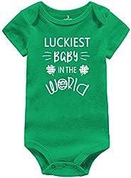 Infant Baby Bodysuit St. Patrick's Day Gift Cute Letters Print Irish Charm Romper Newborn Jumpsuit Ou