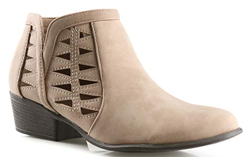 Platform Stack Heel Boots - LUSTHAVE Womens GY Western Cut Out Perforated Low Heel Ankle Boots Bootie Khaki 8