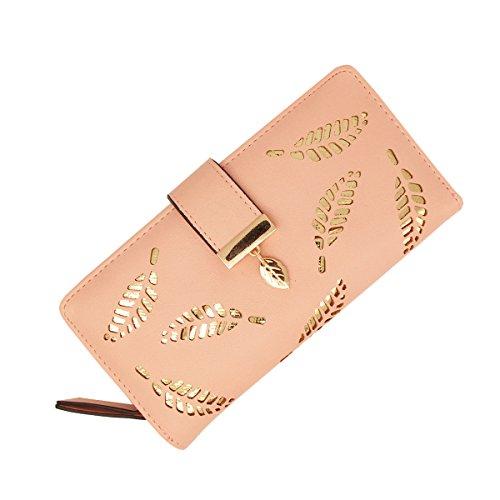 Womens Leather Wallet Purse Hollow Leaf Pattern Zipper Handbag Button Clutch Bag