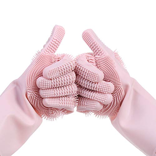 Magic Silicone Gloves Dishwashing Scrubber Cleaning Supplies Heat Resistant Kitchen Brush For Washing Dish,Cleaning, Car Washing, Pet Hair Care, Toilet Scrubber