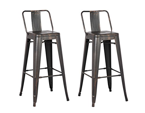 AC Pacific Low Back Indoor and Outdoor Metal Chair Barstool (Black) 30-Inch Set of 2 Review