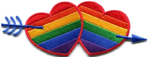 Gay Lesbian Pride Rainbow Flag Love Hearts Lgbt Applique Iron On Patch