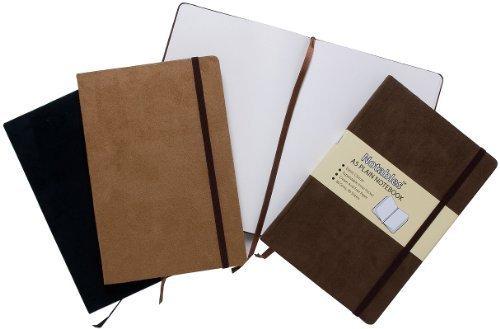 [B.o.o.k] A6 Suede Effect Notables Plain Notebook Sketchbook Jot Pad Black DOC
