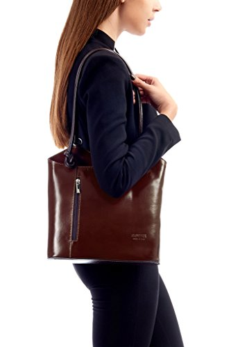 Shoulder Hand Z Trim Leather Womens Made Non Real Leather Italy Backpack Piping In Smooth Brown Navy or BHBS Made Handbag Finish ZqICERE
