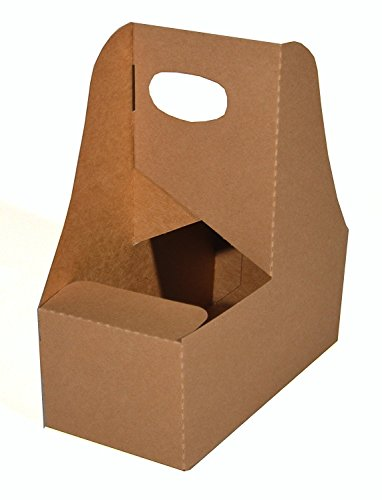 Southern Champion Tray 2795 Kraft Paperboard Drink Carrier with Handle, Hold 2 Cups, 25 Piece