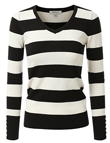 NINEXIS Women's Rayon Knit Sweater w/ Cuff Buttons BLACK/OFFWHITE L