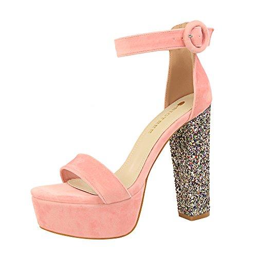 Brillants Mode Paillettes Rrock Ceinture Chaussures Discothèque Femmes Sexy Boucle Épais Pink Sandales Talons TB1n8a