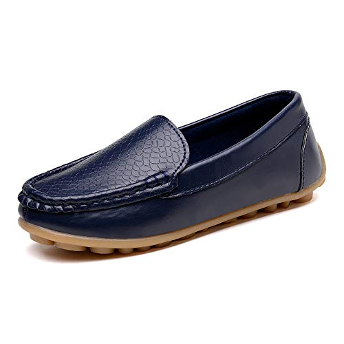 KONHILL Casual Loafers Shoes Boys Girls Plush Moccasin Slip on Slippers Boat-Dress Shoes/Sneaker/Flats
