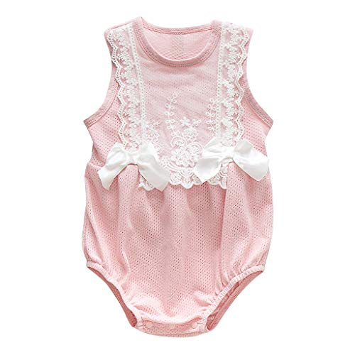Newborn Infant Baby Girl Bodysuit Lace Bowknot Sleeveless Romper Outfits Suitable for 0-24 Months