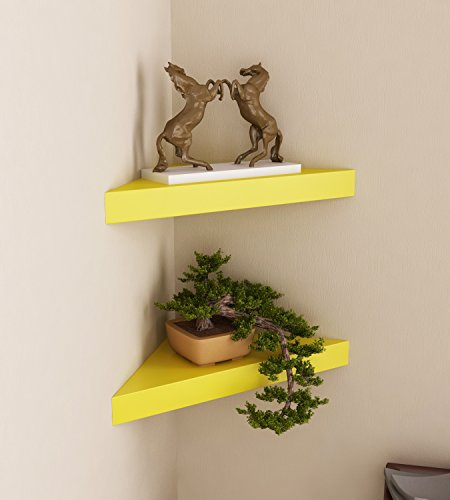 Home Sparkle Wooden Corner Wall Shelves  Set of 2, Yellow