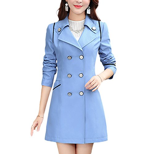 aaaeac33fb4 Verypoppa Women s Spring Autumn Jacket Double Breasted Lapel Long Sleeve  Trench Coat Tops - Buy Online in Oman.