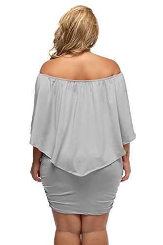 Sexy Bodycon Shoulder Off Plus Mini Layered Dress Grey Size Multiple Ruffle Dressing Women's xvT8qwwf