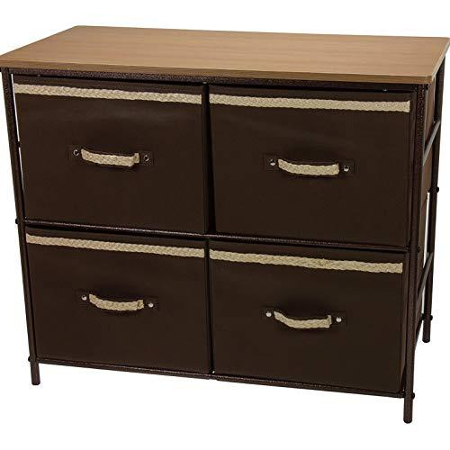 (Endicot 2-Shelf Storage 4 Baskets Bin Organizer Table Stand- 28.4in.L x 13.6in.D x 24H | Model DRSSR - 112 )