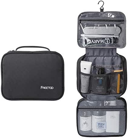 FREETOO Travel Toiletry Bag 6 Compartments Waterproof Portable Wash Toilerty Travel Bag with Metal Hanging Hook for Men and Women