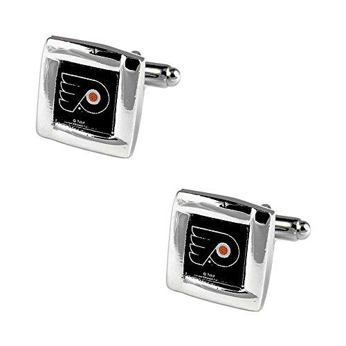 NHL Philadelphia Flyers Team Logo Engraved Square Cufflinks Gift Box Set