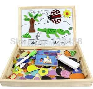 Multifunctional Wooden Jungle Animal Magnetic Puzzle Doodle Drawing Board Blackboard Learning & Education Toys for Children