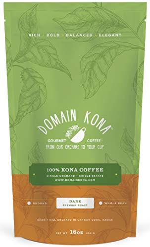 100% Kona Coffee - Ground, Dark roast, NEW label, Single estate gourmet coffee, 16 ounces, Farm fresh roasted from Domain Kona - Farm French