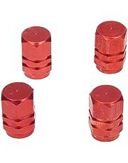 Deesen Rode band luchtklep caps Fit All Schrader ventiel (pak van 4)