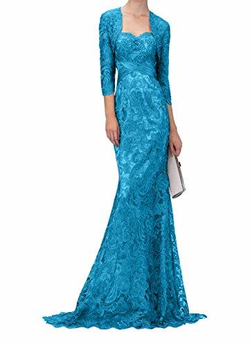 Blau Spitze Abendkleider Jaket Damen Kleider Jugendweihe Ballkleider Brautmutterkleider Partykleider Lang Charmant mit qgwOnxPfa