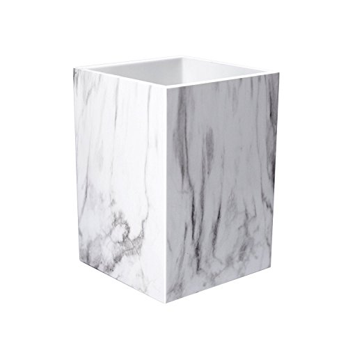 Pen Marble Stand (Umiko Decorative Unique Modern White Marble Design Pen and Pencil Cup Holder Stand Organizer Box Case for Desk Home Office Officemate Desktop Classroom School)