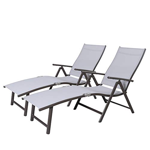 Crestlive Products Aluminum Beach Yard Pool Folding Recliner Adjustable Chaise Lounge Chair All Weather for Outdoor Indoor, Brown Frame 2 PCS Light Gray