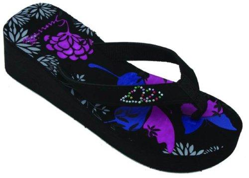 Sunville Fashion Wedge Flip Flops Sandals Floral, Aqua or Multicolor Butterflies (9, Floral)