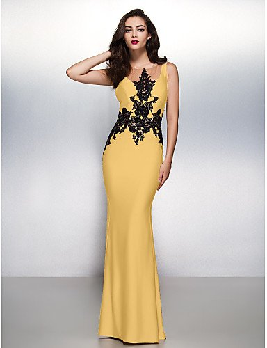 Jersey Con Lazo Sirena Tren Trompeta Boca Apliques Formal HY Cuello De amp;OB Barrer Gala Noche Gold Negro Prom Vestido Cepillo WCc57T8