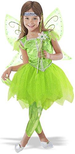 Fairy Costume With Leggings (TeeTot Princess Factory Green Leaf Fairy Costume Size 3-4 Top Skirt Leggings Wings)