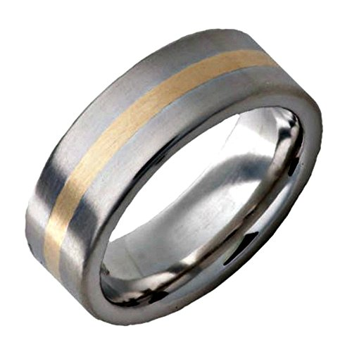 18k Yellow Gold Inlay - Roy Rose Jewelry ~ Serinium Band 8mm Wide with 18K Yellow Gold Inlay Satin Finish Mens Ring ~ Sizes 16