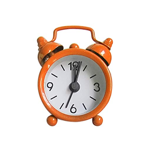 KFSO Mini Vintage Classic Bedside/Table Analog Alarm Clock, Travel Clock, Round Loud Bell Alarm Clock for Kids (Orange)