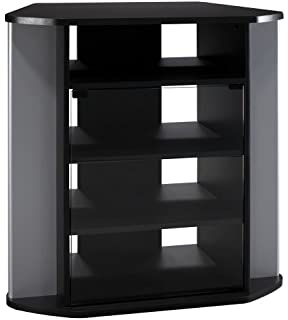 Visions Tall Corner TV Stand In Black And Metallic
