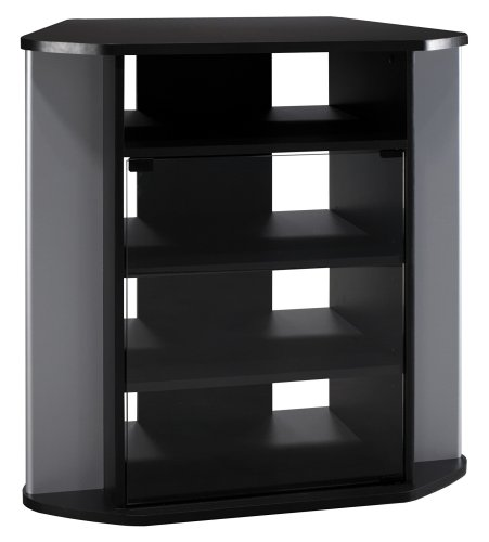 Bush Furniture Visions Corner TV Stand, Black/Silver