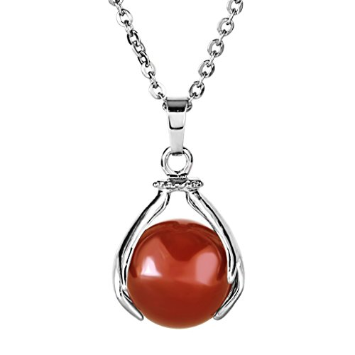 Red Onyx Gem Pendant - Aprilsky Jewelry Healing Head Holding Red Onyx Gemstone Crystal Ball Pendant Necklace Gift 18