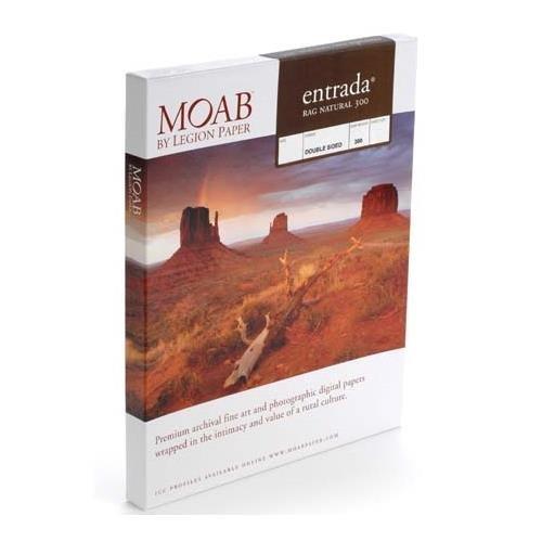 - Moab Entrada Rag Fine Art, 2-Side Natural Matte Inkjet Paper, 22.5 mil, 300gsm, 13x19, 25 Sheets.