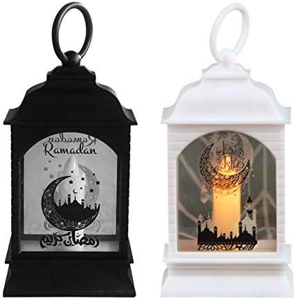 Lingge Ramadan Verlichting Eid Mubarak Kaarsenlantaarns binnen ledlichtkettingen moslimdecoratie voor Ramadan Festival Party Vakantie Ornamenten Zwart en Wit Tweedelige set There