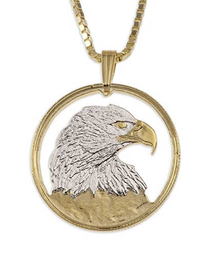 Bald Eagle Pendant & Necklace, Canada 50 Cents Hand Cut, 1