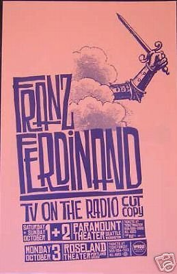 Franz Ferdinand TV On The Radio Yummy Fur Rare Original Concert Tour Gig Poster from ConcertPosterArt