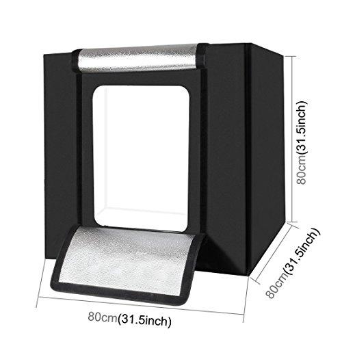 PULUZ Photo Studio Light Box 31.5'' X 31.5'' X 31.5'' / 80 X 80 X 80 cm LED 5500LM Mini Portable Photo Studio Shooting Tent with 3 Backgrounds White Black Orange 80W by PULUZ (Image #2)