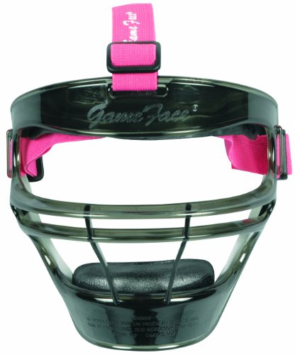 Markwort Game Face Sports Safety Mask (Smoke with Pink Ponytail Harness, Medium)