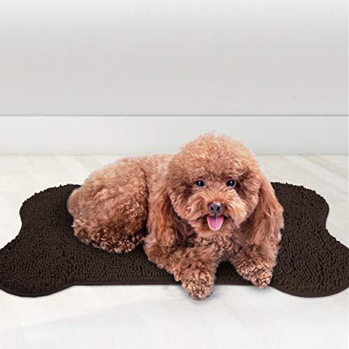 MAYSHINE Shaggy Pet Area Rug Dog Bone Shaped Mat Comfortable Dog Bed Machine-Washable Durable Absorb Mud and Dirt Keep…