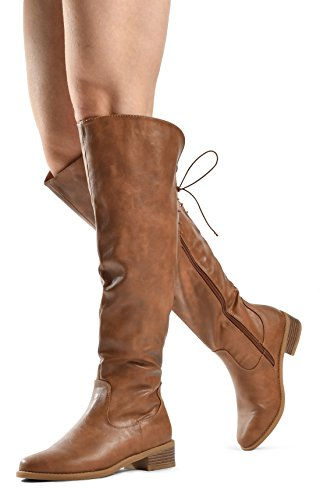 LUSTHAVE Women's Knee High Flat Boots Lace Up Cushioned Lining Drawstring Tall Western Riding Boots Tan 6