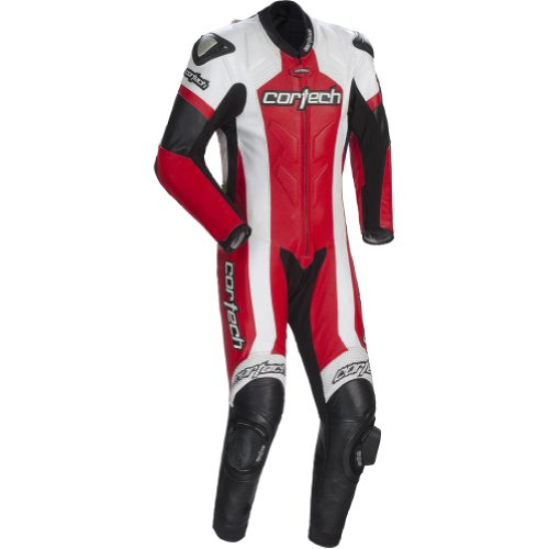 Cortech Adrenaline Men's 1-Piece Leather Sports Bike Racing Motorcycle Race Suit - White/Red / X-Large by Cortech